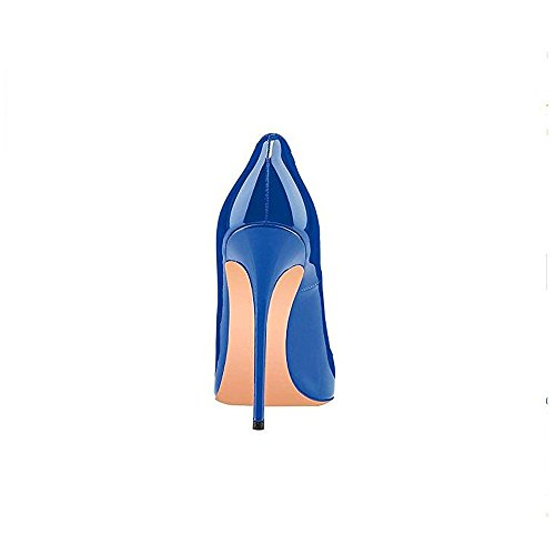 Pointed Stiletto Fashion Dress GENSHUO High Women Toe Slip Sexy Heel Pumps On Blue Shoes Dark pvxE1