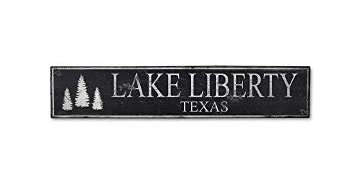 Lake Liberty Texas, Lake House Rustic Hand-Made Vintage Wooden Sign - 5.5 x 24 Inches - Lake Liberty House