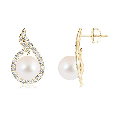 Freshwater Cultured Pearl Earrings with Diamond Swirl Frame in 14K Yellow Gold (9mm Freshwater Cultured Pearl) ()