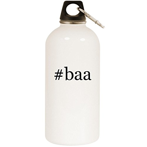 (Molandra Products #baa - White Hashtag 20oz Stainless Steel Water Bottle with Carabiner)