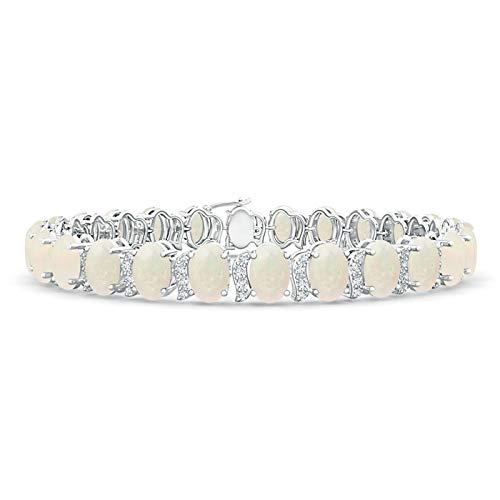 Oval Opal Tennis Bracelet with Swirl Diamond Links in Silver (6x4mm Opal)