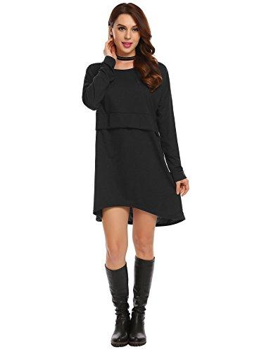Zeagoo Women Casual Long Sleeve Plain Loose T Shirt Dress Black