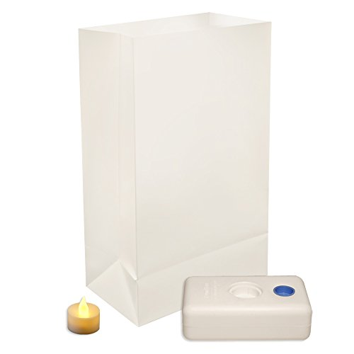 LumaBase 83336 12 Count Battery Operated Luminaria Kit, White Luminaria Kit