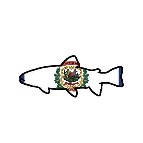 Pack of 3 - West Virginia State Shaped Trout Cinyl WV Fly Fishing Fish - Sticker Graphic - Auto, Wall, Laptop, Cell, Truck Sticker for Windows, Cars, Trucks (Best Fly Fishing In Wv)