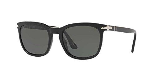 Persol lunettes de soleil carrées en trou de serrure en noir Vert polarisé PO3193S 95/58 55 Green Polarised Black