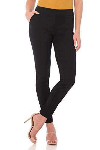 Rekucci Women's Ease in to Comfort Modern Stretch Skinny Pant w/Tummy Control (8SHORT,Black Stripes) ()