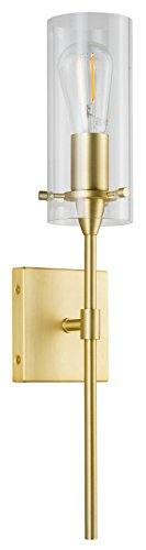 Antique Brass Pendant Lantern - Effimero Vanity Light Fixture – Satin Brass w/Clear Cylinder - Linea di Liara LL-WL31-SB