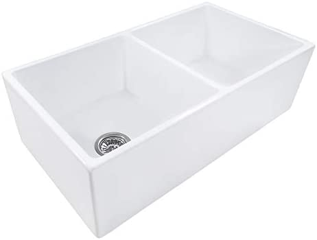 Ruvati 33-inch Fireclay Farmhouse Apron-Front Kitchen Sink Double Bowl – White – RVL2311WH