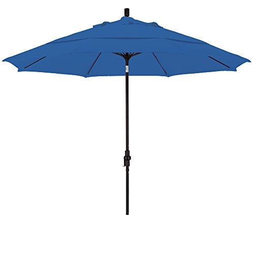 California Umbrella 11' Round Aluminum Pole Fiberglass Rib Market Umbrella, Crank Lift, Collar Tilt, Black Pole, Pacifica Pacific Blue
