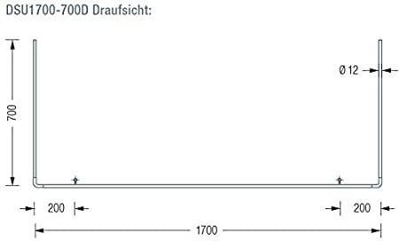matt geschliffen Duschvorhangstange U-Form f/ür Badewannen 170 x 70 cm Wandabh/ängung mit Vorbeiziehfunktion echter Edelstahl Montagematerial DSU1700-700W inkl PHOS Edelstahl Design