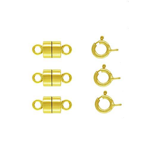 Gold Filled Loop - 3 Pack 14k Gold-Filled 4.4 mm Magnetic Clasp Converter for Light Necklaces/Bracelets 5.5 mm Spring Ring