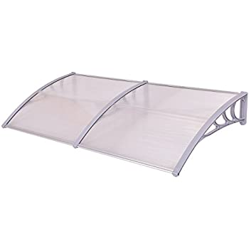 """Tangkula 40""""x 80"""" Window Awning Modern Polycarbonate Cover Front Door Outdoor Patio Canopy Sun shetter 3 Colors (Clear with grey edge)"""
