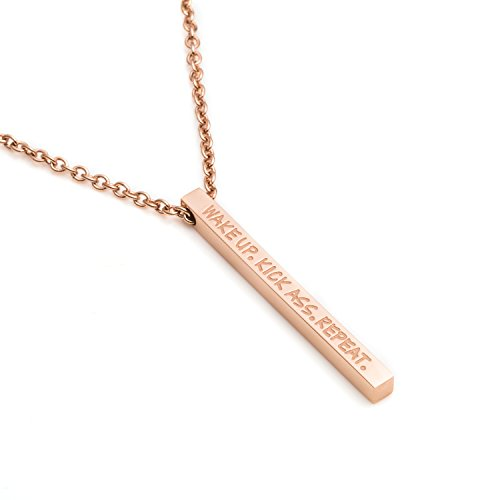 Joycuff Feminist Jewelry Gifts Vertical Bar Necklace Jewellery for Teen Girls Engraved Wake Up Kick Ass Repeat Rose Gold