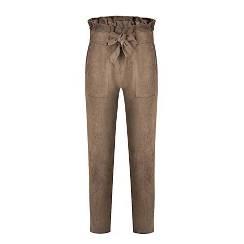 Gris Solide Élastique Femme Kaki Haute Taille Printemps Bande Pour De Neuvième Pantalon gqwvYCw