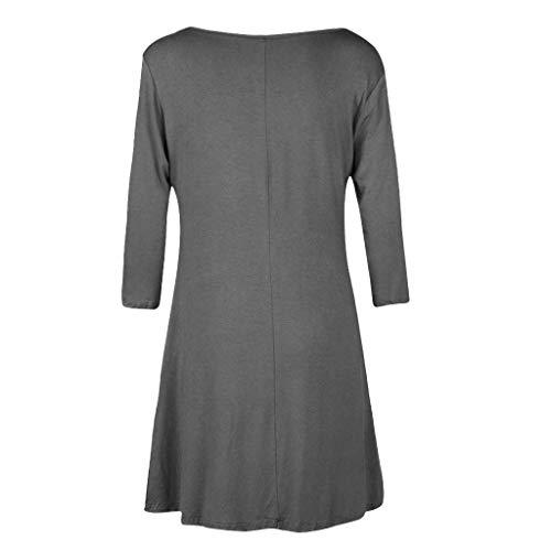 T Shirt Dress,Women's Casual Pockets Plain Flowy Simple Swing T-Shirt Loose Tunic Dress Swing -