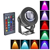 10W Waterproof Outdoor RGB Light LED Flood Light with Remote Control (DC/AC 12V) Black