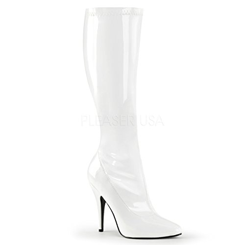- Pleaser Women's Seduce-2000 Boot,White Stretch Patent,7 M US