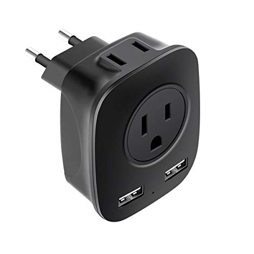 European Travel Adapter, ABFTECK International Travel Plug Adapter with 2 AC Outlets & 2 USB Ports, US to Europe Outlet…