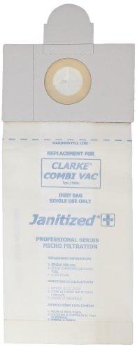 Janitized JAN-CLCV-2(10) Paper Premium Replacement Commercial Vacuum Bag, For Clarke Combi Vac, FiltraVac, FiltraPac Back Pack, Hawk UVT14 & UVT18, Pursuit, N.A.C.E DM1400 & DM1800  Vacuum Cleaners (10 - 10 packs) - Hawk Floor Machine