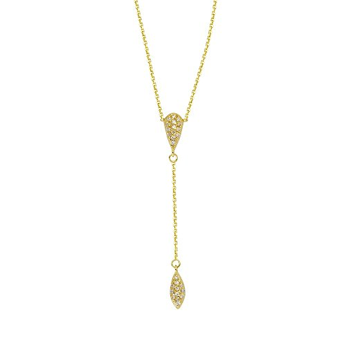14k Yellow Gold 0.12 Dwt Diamond Teardrop and Marque Lariat Adjustable Necklace - 18 Inch
