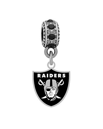 Large Charm Logo (Oakland Raiders Logo Charm Fits European Style Large Hole Bead Bracelets)