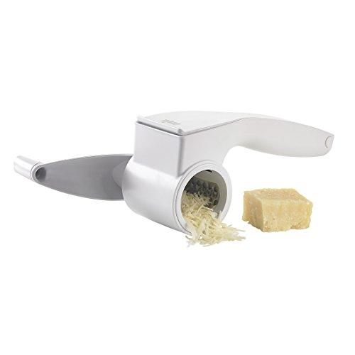 Emsa 507268 Kurbel-Reibe, 3 Einsätze, Grob und fein, Kunststoff/Edelstahl, Weiß, Smart Kitchen