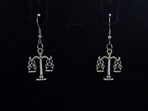 Pretty 304 Stainless Steel /& Antique Silver Scales of Justice Charm Necklace and Earrings Set