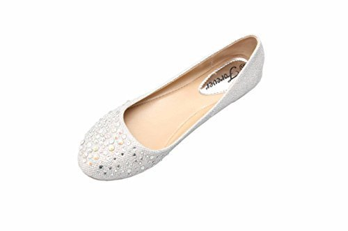 JJF Shoes Larisa Silver Bling Sparkling Rhinestone Glitter Slip Loafer Ballet Flat Shoes-7