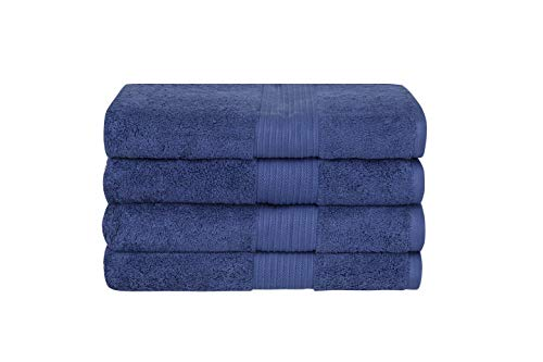 Bliss Luxury Combed Cotton Bath Towels - 34 x 56 Extra Large Premium Quality Bath Sheet - 650 GSM - Soft, Absorbent (Denim, 4 Pack)
