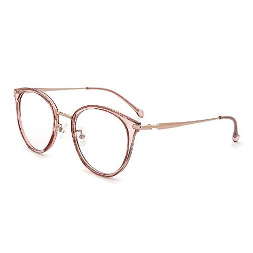 OQ CLUB Oversized Retro Round Blue Light Glasses Metal Optical Eyewear Non Prescription Eyeglasses Frame for Women Men(Pink) ()