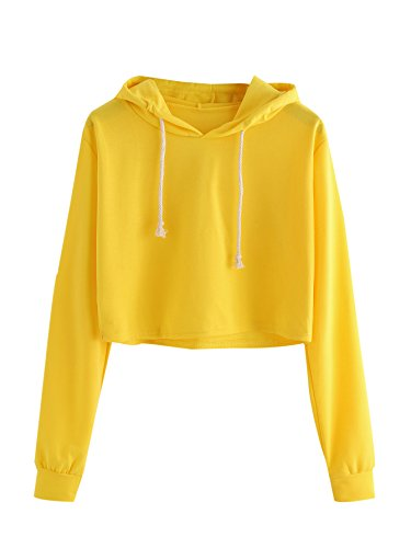 MAKEMECHIC Women's Long Sleeve Pullover Sweatshirt Crop Top Hoodies Yellow M