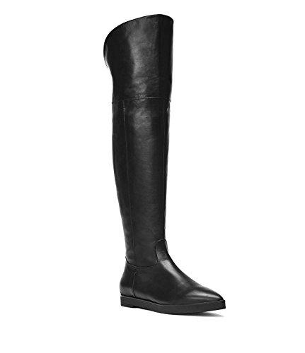 PoiLei Overknee-Stiefel Keil-Absatz Damen Lou Leder-Stiefel schwarz