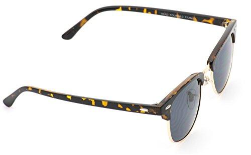 Retro Classic Metal Half Frame Horn Rimmed Sunglasses Tortoise Frame / Black Lens