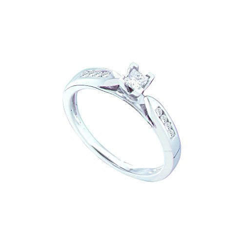 14kt White Gold Womens Princess Diamond Solitaire Bridal Wedding Engagement Ring 1/4 Cttw by JawaFashion