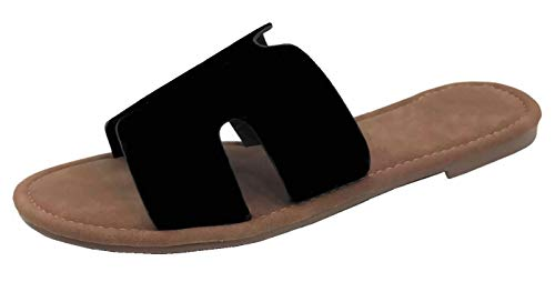 Wells Collection Womens Slip On Slide Flat Sandal with Notch Cut-Outs, Black, 8
