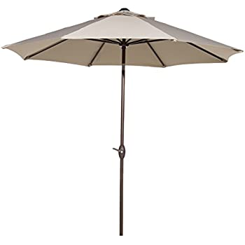 Abba Patio 11 Feet Patio Umbrella With Push Button Tilt And Crank, Beige