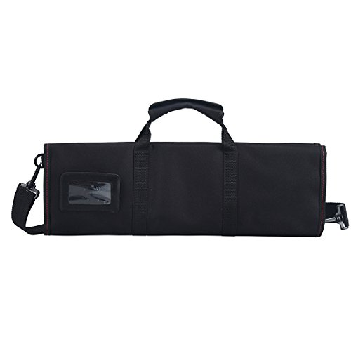 Tosnail Chef Knife Case Roll Bag with 21 Slots & 1 Large Zipper Pocket, Easy Carry Handle and Shoulder Strap - Black by Tosnail (Image #1)