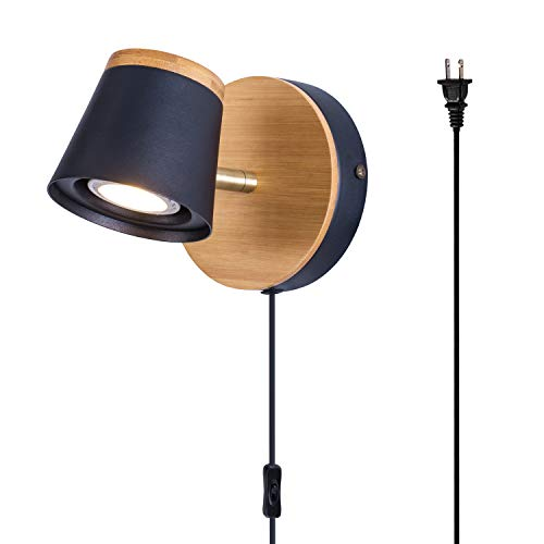 TeHenoo Modern Industrial Plug in Wall Lamp, Mini Bamboo Base Contemporary Rustic Style Black Shade Wooden Wall Mounted Sconce Light for Bedroom, Living Room, Cafe