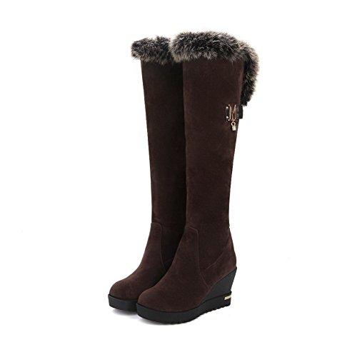 VogueZone009 Damen Eingelegt Nubukleder Ziehen auf Rund Zehe Stiefel mit Metallisch, Weinrot, 40