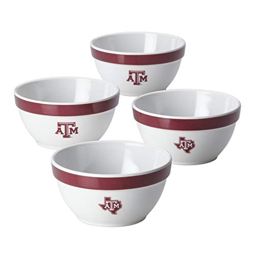 - College Kitchen Collection 47673 4-Piece Bowl Melamine Serveware Set, Texas A&M
