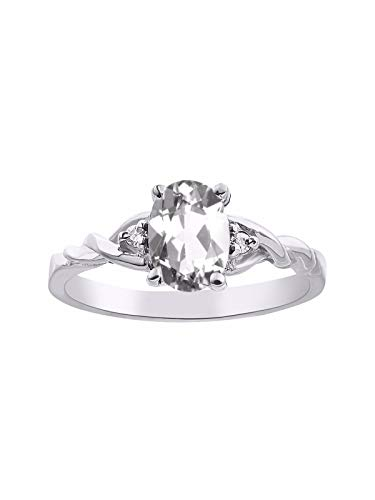 RYLOS Ladies Ring with Oval Shape Gemstone Genuine Sparkling Diamonds in Sterling Silver .925-7X5MM Color Stone