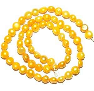 Steven_store NP161 Yellow 7mm - 8mm Semi-Round Button Cultured Freshwater Pearl Beads 15