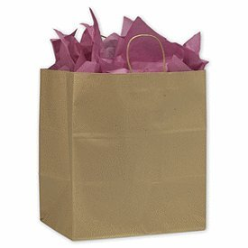 200 Kraft Paper Shoppers Take Home Bags 14 x 9 1/2 x 16 1/4''