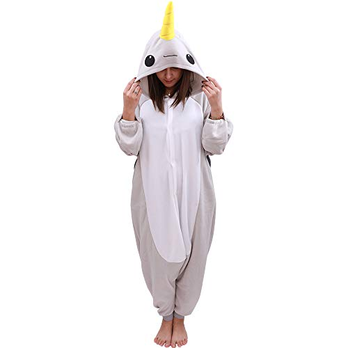 Animal Oneise Narwhal Pajamas - Plush One Piece Costume (X-Large, Gray)