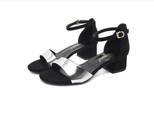 4 cm Chunkly Sandalias de tacón Zapatos casuales Mujeres Bomba Open D'e D'orsay Zapatos de vestir de la correa de tobillo Comforty Colormatch Hebilla de cinturón OL Court Shoes Roma Zapatos Eu Tamaño Plata