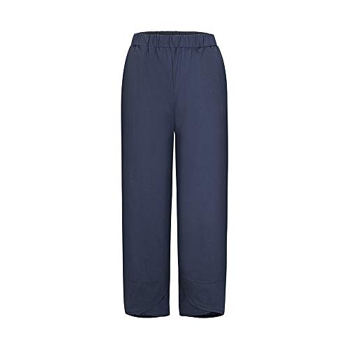 Oismys Baggy Casual Trousers Women Linen Pants Wide Leg Tapered Cropped Pants Elastic Waist Cross-leg Trousers with Pocket
