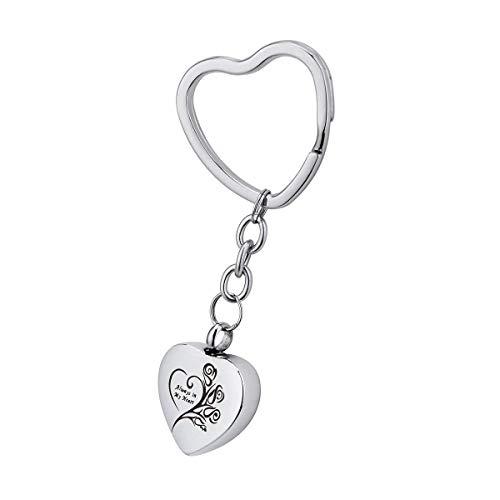 (Norya Stainless Steel Heart Cremation Urn Keychain Keepsake Memorial Ashes Keyring ... (Always in My Heart))