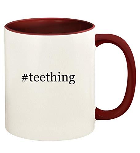 #teething - 11oz Hashtag Ceramic Colored Handle and Inside Coffee Mug Cup, Maroon