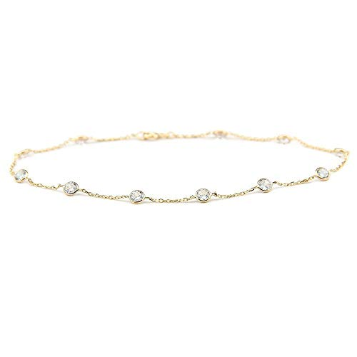 14k Yellow Gold Station Bracelet with 4mm Round Cubic Zirconia (6-8 Inches)