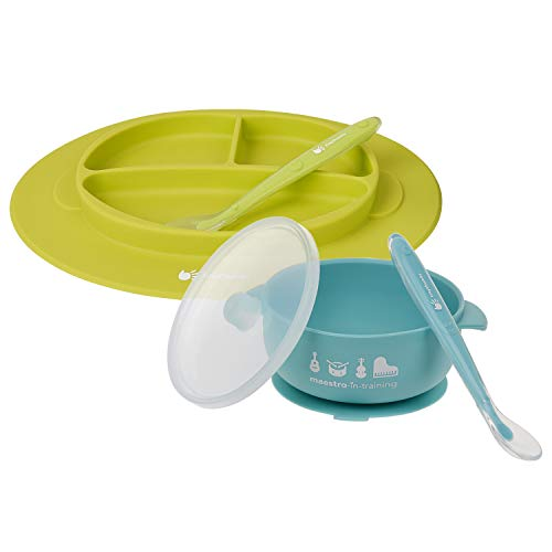TinyThumbs Silicone Bowl with Lid, Plate and Soft Spoon Feeding Set for Babies and Kids (Turquoise & Lime Green)